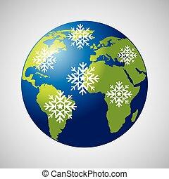 tempo, globo terra, meteorologia, neve