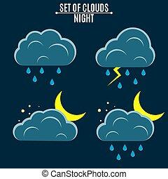 tempo, icons., nubi, con, rain., uno, mese, in, il, night., vettore, illustrazione, in, uno, appartamento, style., ambiente
