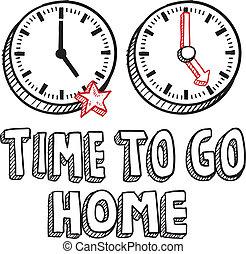 tempo, ir, trabalho casa, esboço