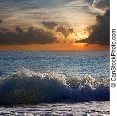 tempo, mar, pôr do sol, onda