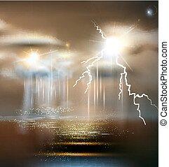 tempo, mau, thunderstorm, vetorial, tempestade, seascape
