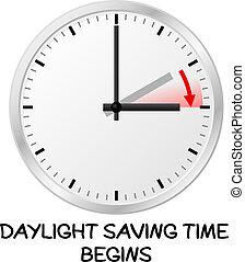 tempo, mudança, para, luz dia, poupar, tempo
