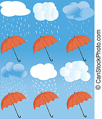 tempo, ombrello, icona