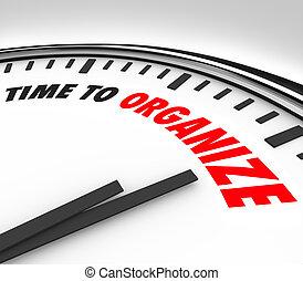 tempo, organizar, relógio, agora, é, momento, para,...