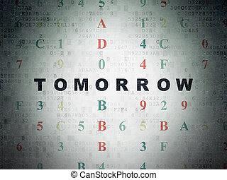 tempo, papel, fundo,  digital, dados, amanhã,  concept: