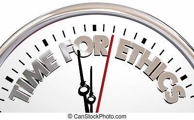 tempo, para, ética, relógio, moral, comportamento, 3d, ilustração