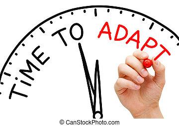 tempo, para, adaptar
