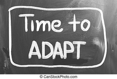 tempo, para, adaptar, conceito
