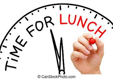 tempo, para, almoço
