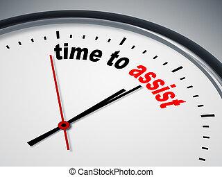 tempo, para, assistência