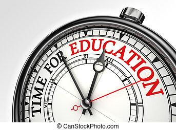 tempo, para, educação, conceito, relógio