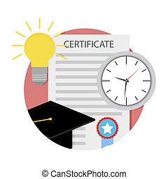 tempo, para, graduação, faculdade, ícone, vetorial