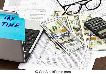 tempo, para, impostos, dinheiro, financeiro, contabilidade, tributação, conceito