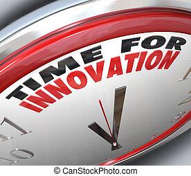 tempo, para, inovação, relógio, necessidade, para, mudança,...