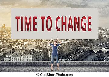 tempo, para, mudança