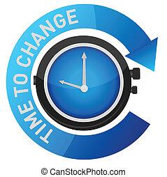 tempo, para, mudança, conceito, ilustração
