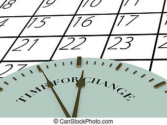 tempo, para, mudança, relógio