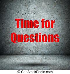 tempo, para, perguntas, parede concreta
