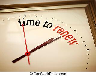 tempo, para, renove