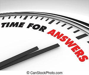 tempo, para, respostas, -, relógio