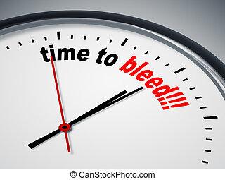 tempo, para, sangrar