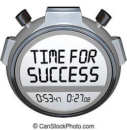 tempo, para, sucesso, palavras, cronômetro, cronômetro, ganhe, raça