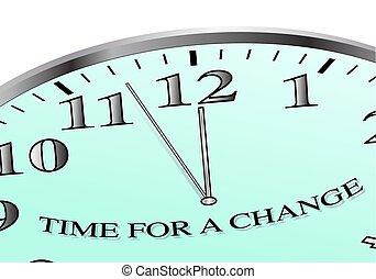 tempo, para, um, mudança, relógio