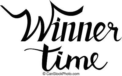 tempo, para, vencedor, mão, lettering, text.