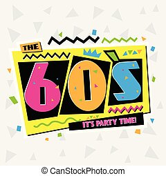 tempo partido, a, 60s, estilo, label., vetorial, illustration.
