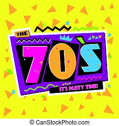 tempo partido, a, 70, s, estilo, label., vetorial,...
