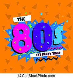 tempo partido, a, 80, s, estilo, label., vetorial,...