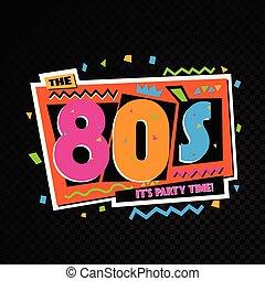 tempo partido, a, 80s, estilo, label., vetorial,...