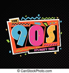 tempo partido, a, 90s, estilo, label., vetorial,...