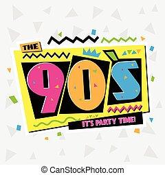 tempo partido, a, 90's, estilo, label., vetorial,...