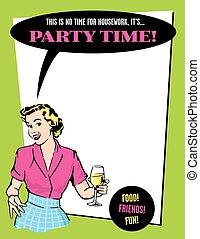 tempo partido, retro, dona de casa, convite