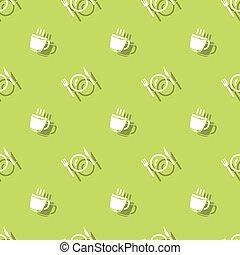 tempo pasto, bevanda, tazza, e, coltelleria, seamless, fondo