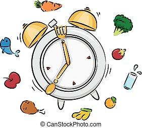 tempo pasto, orologio, illustrazione