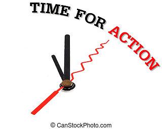 tempo, per, azione, vicino, usando, uno, orologio