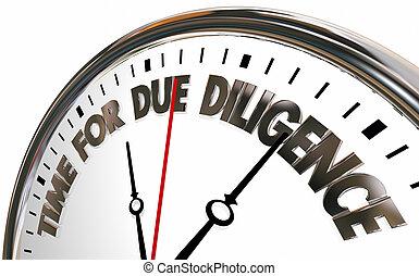tempo, per, diligenza dovuta, orologio, 3d, illustrazione