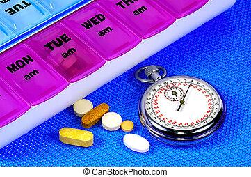 tempo, per, medicazione
