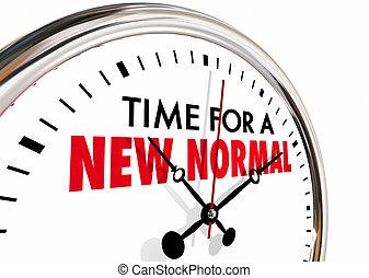 tempo, per, uno, nuovo, normale, cambiamento, mani orologio, traliccio, 3d, illustration.jpg