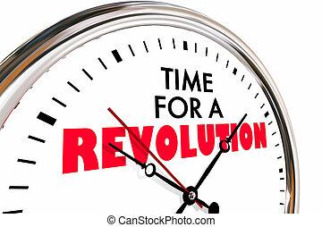 tempo, per, uno, rivoluzione, grande, cambiamento, rottura, orologio, 3d, illustrazione