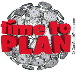tempo, planejar, relógio, esfera, planificação, para, meta, realização
