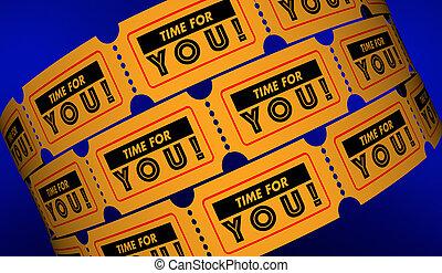 tempo, por si, permissão, tomar, férias, apreciar, vida, bilhetes, 3d, ilustração