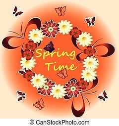 tempo primaverile, con, fiori