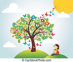 tempo primaverile, paesaggio albero