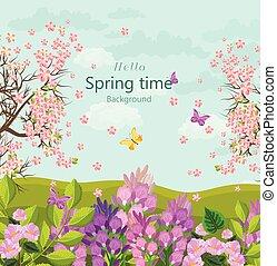 tempo primaverile, scheda, con, fiori, vector., floreale, fondo, appartamento, stili