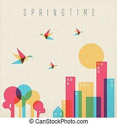 tempo primaverile, stagione, foresta albero, e, città
