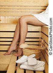 tempo, relaxamento, sauna
