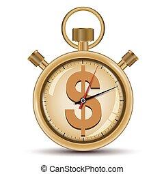 tempo, vendita, concetto, dorato, cronometro